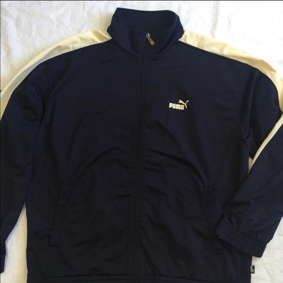 95aa8bed04e0 Classic Puma Track Jacket Navy Blue Beige Size L. M 5ac58a7b46aa7c4f32a54d5c